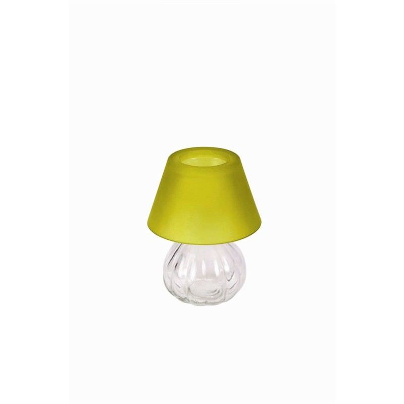 Glass Tea Light Holder with Frost Shade - Green