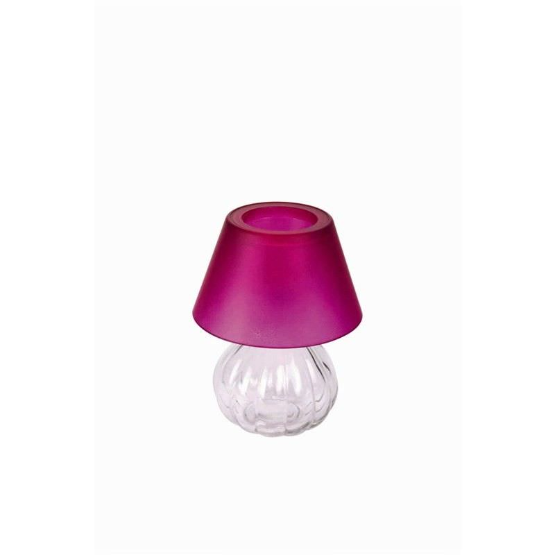 Glass Tea Light Holder with Frost Shade - Fuchsia