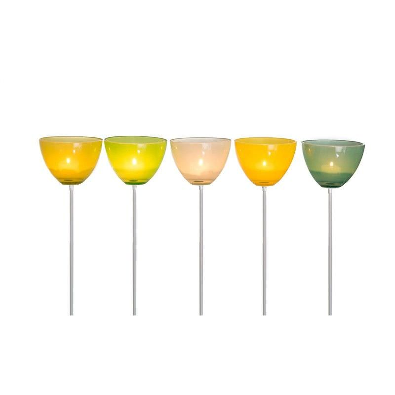 Set of 5 Glass Tealight Holders on Metal Sticks