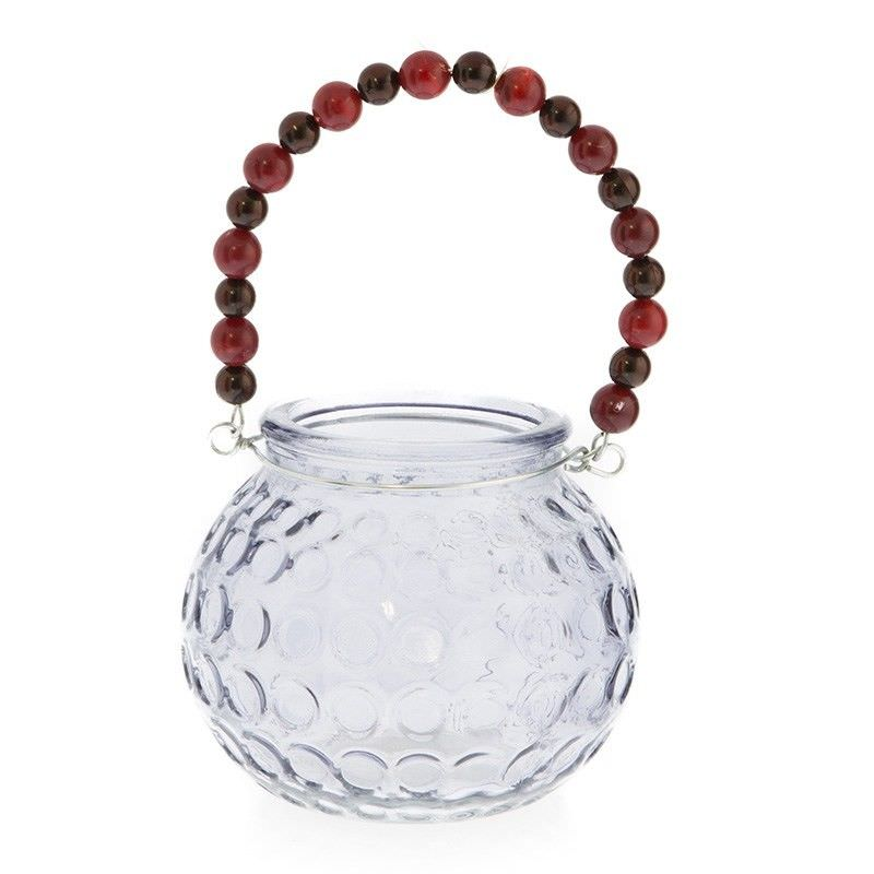 Grey Glass Tealight Holder with Beaded Handle - 18cm