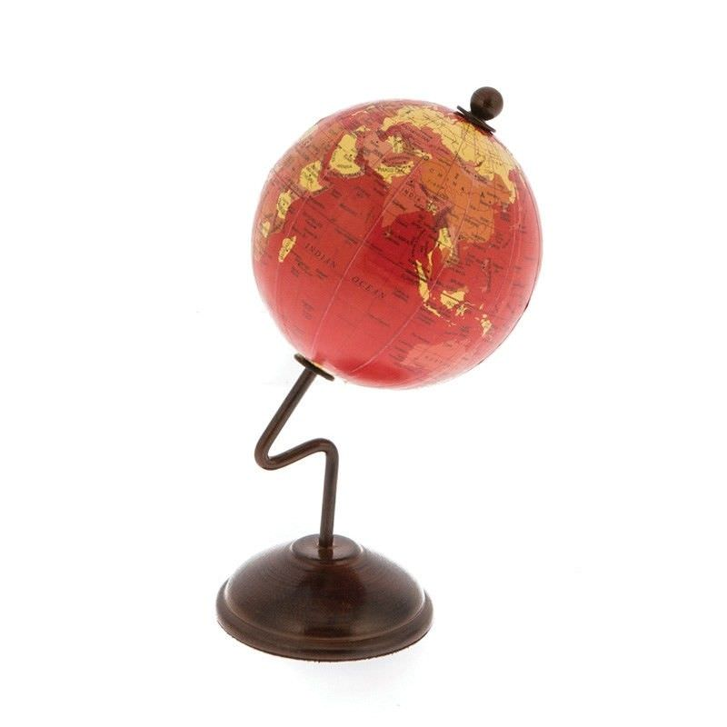 Red World Globe on Curve Stand - 15cm