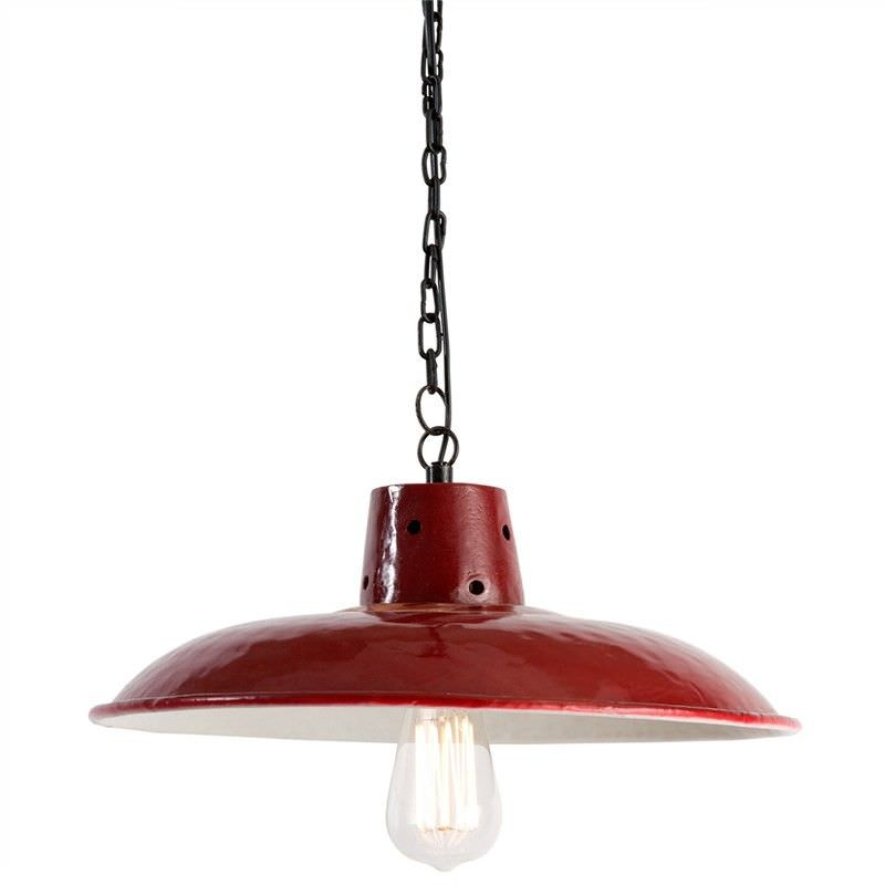 1940 English Cotton Mill Iron Pendant Lamp - Distressed Red