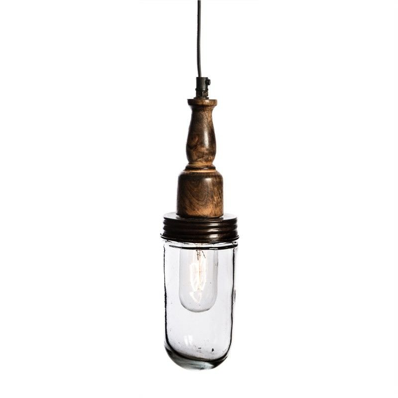 Vintage Timber and Glass Bunker Pendant Light - Small