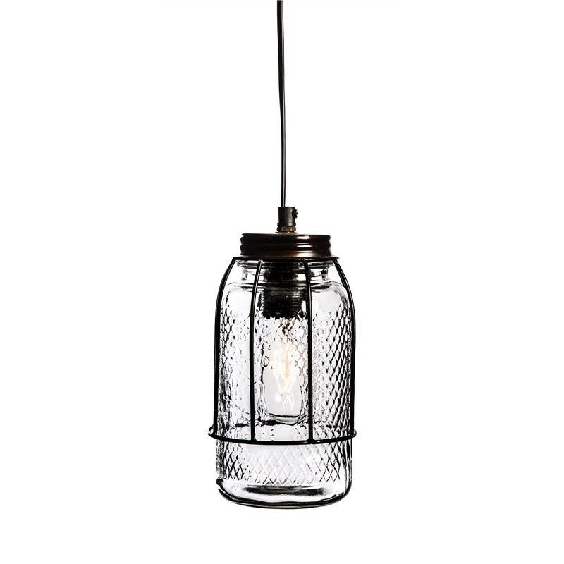 Vintage Iron Bunker Pendant Light with Glass Jar Shade - Antique Bronze