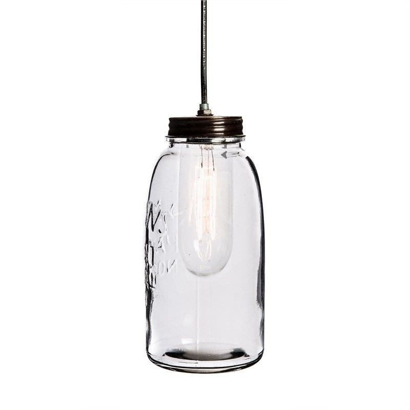 Vintage Mason Glass Jar Pendant Light - Large