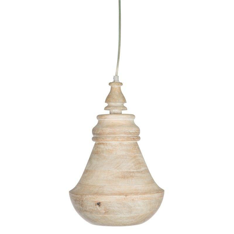 Hamptons Solid Mango Wood Timber Bell Pendant Light