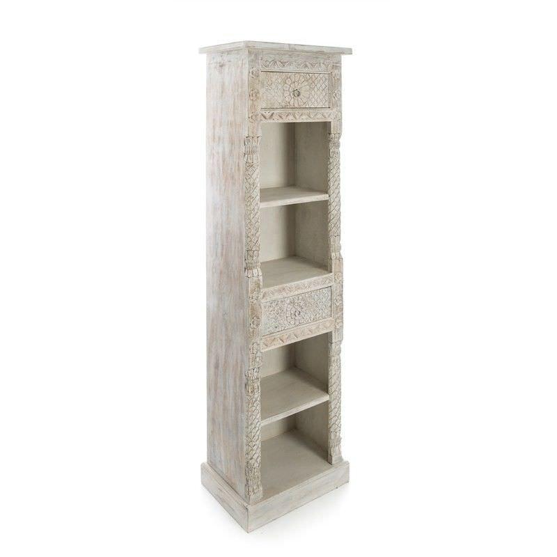 Carved Solid Mango Wood Bookcase, White Wash