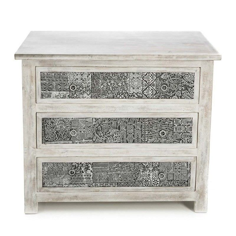 Solid Mango Wood 3 Drawer Stamp Block Chest In White Wash