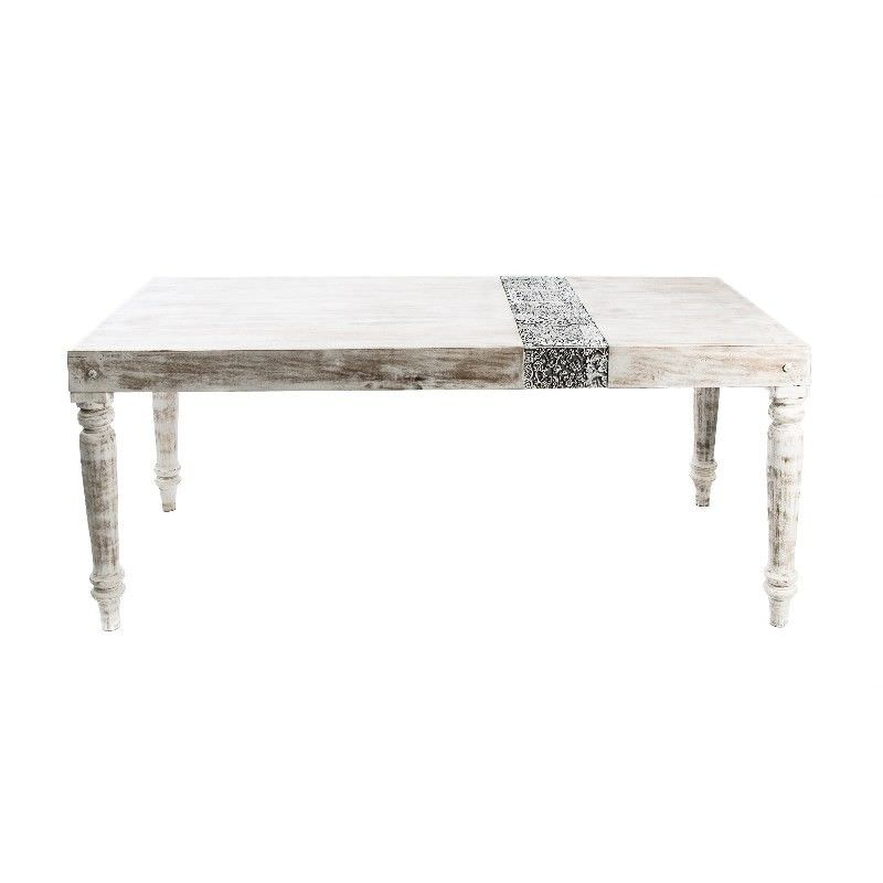 Solid Mango Wood Stamp Block Dinning Table in White Wash - 180cm