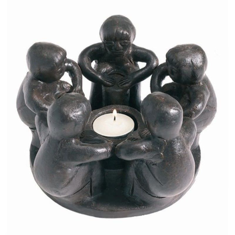 Dark Brown Terracotta Circle of Friends T-Light Holder - 5 boys