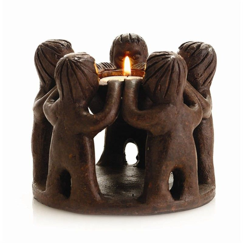 Dark Brown Terracotta Bowl Candle Holder - 5 boys