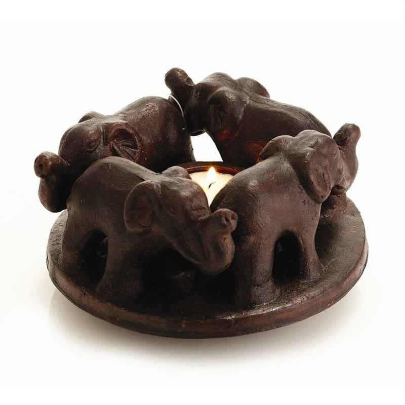 Dark Brown Terracotta T-Light Holder - 4 Elephant