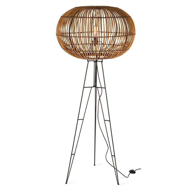 Darla Rattan Floor Lamp with Iron Stand - Natural/Black
