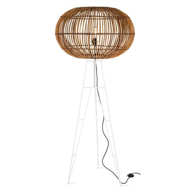 Darla Rattan Floor Lamp with Iron Stand - Natural/White