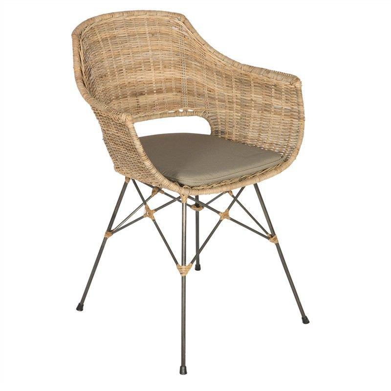 Lokasi Rattan and Metal Dining Armchair with Seat Cushion