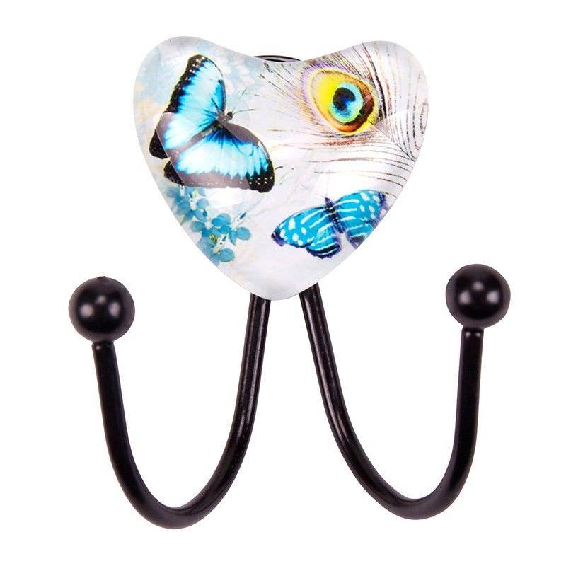 Butterfly Design Glass Double Wall Hook