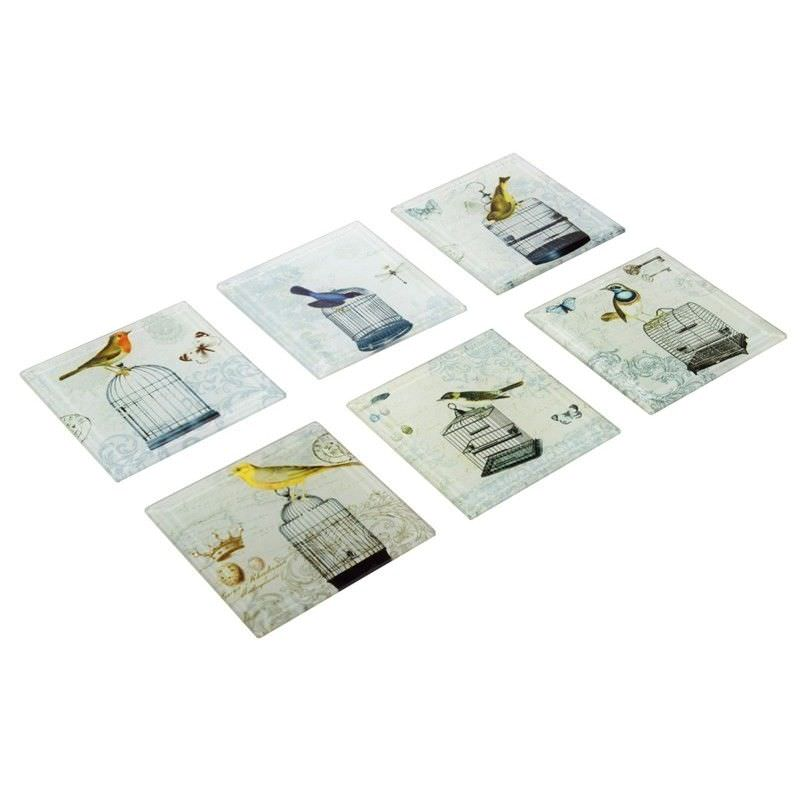 Set of 6 Coasters-Bird-10cm