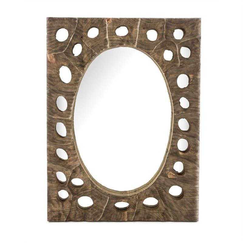Pebble Cutout Wooden Frame 80cm Rectangular Wall Mirror