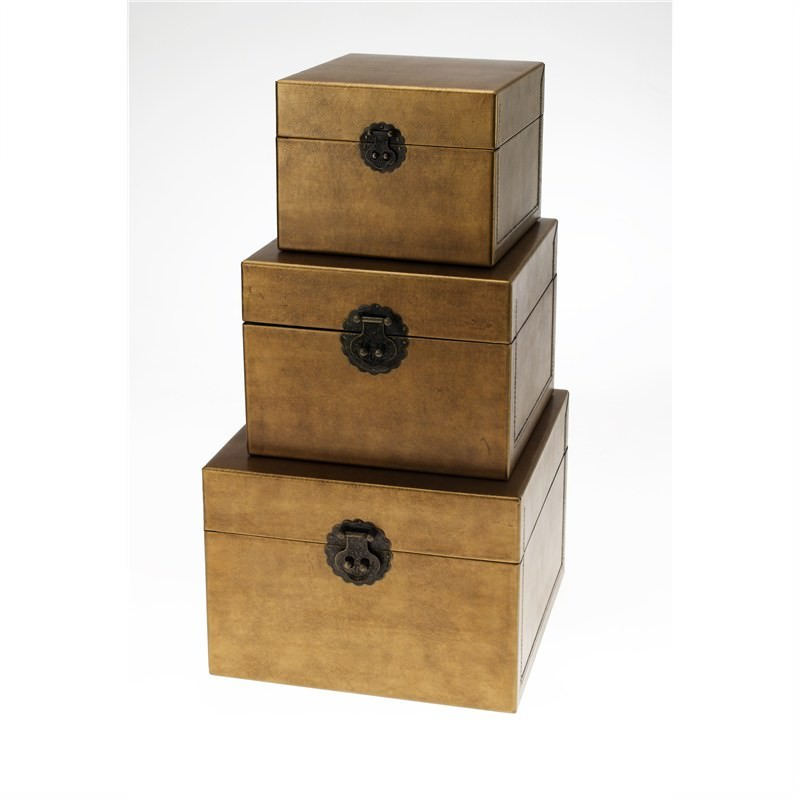 Set of 3 Square Boxes in Gold