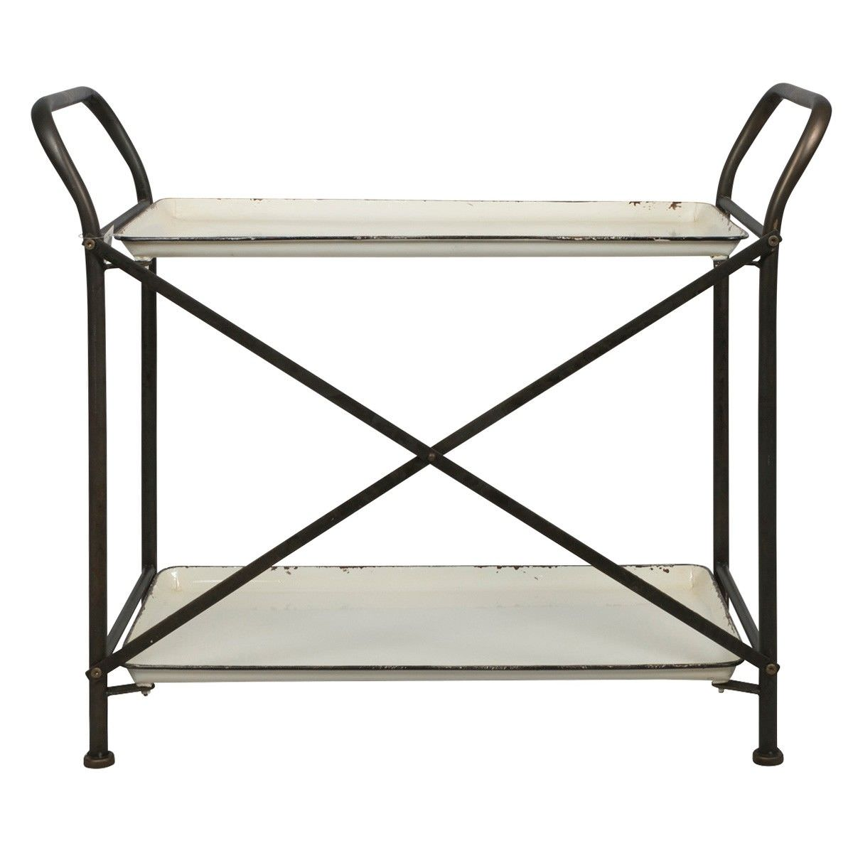 Nelson Distressed Iron 2 Tier Trolley