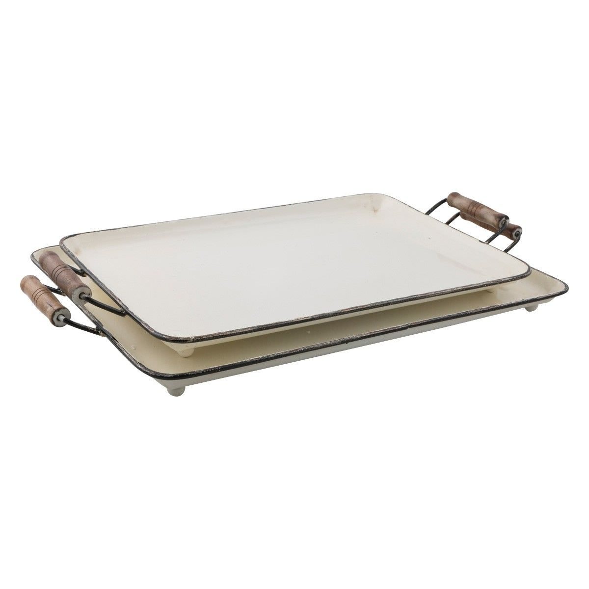 Nelson 2 Piece Distressed Iron Serving Tray Set