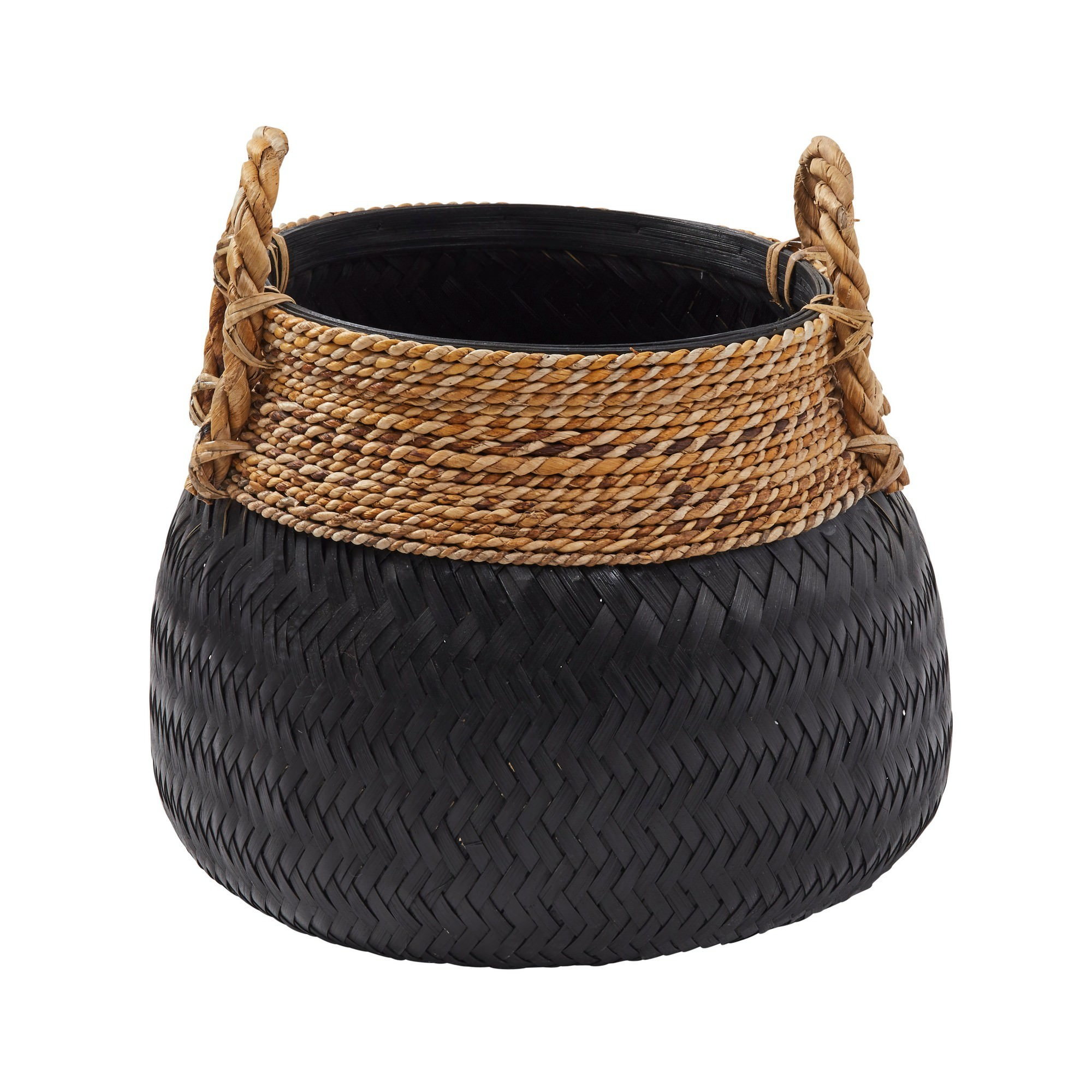 Bambu Rattan Basket, Black