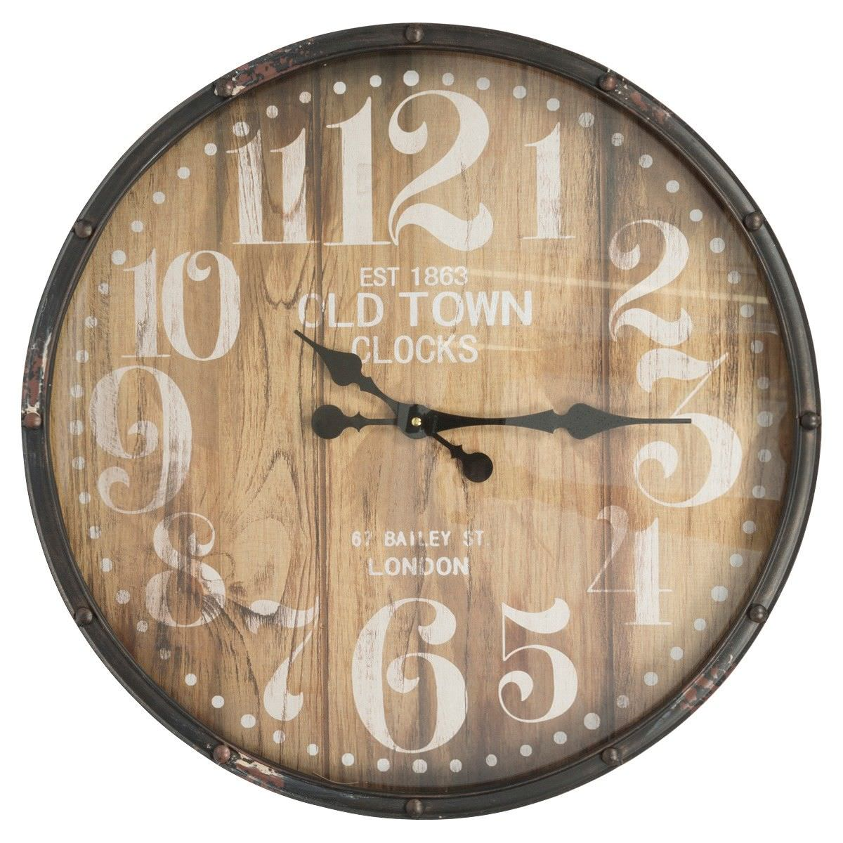 Old Town Iron Frame Round Wall Clock, 60cm