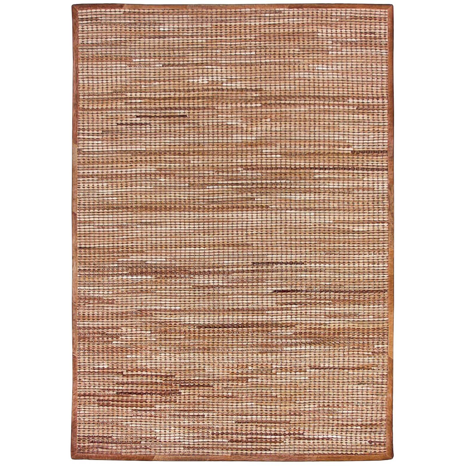 Chase Handwoven Hide & Leather Rug, 160x230cm, Caramel