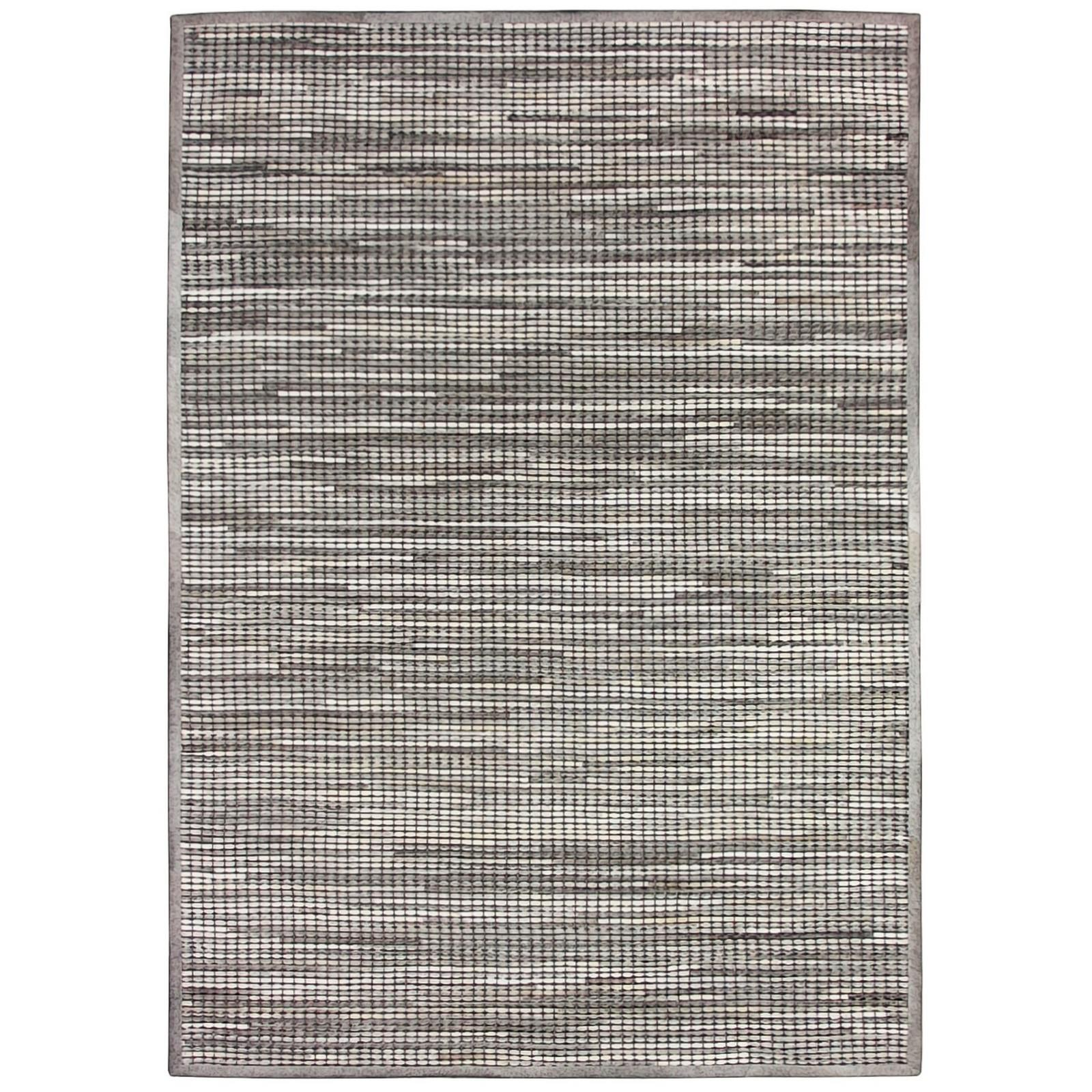 Chase Handwoven Hide & Leather Rug, 160x230cm, Grey