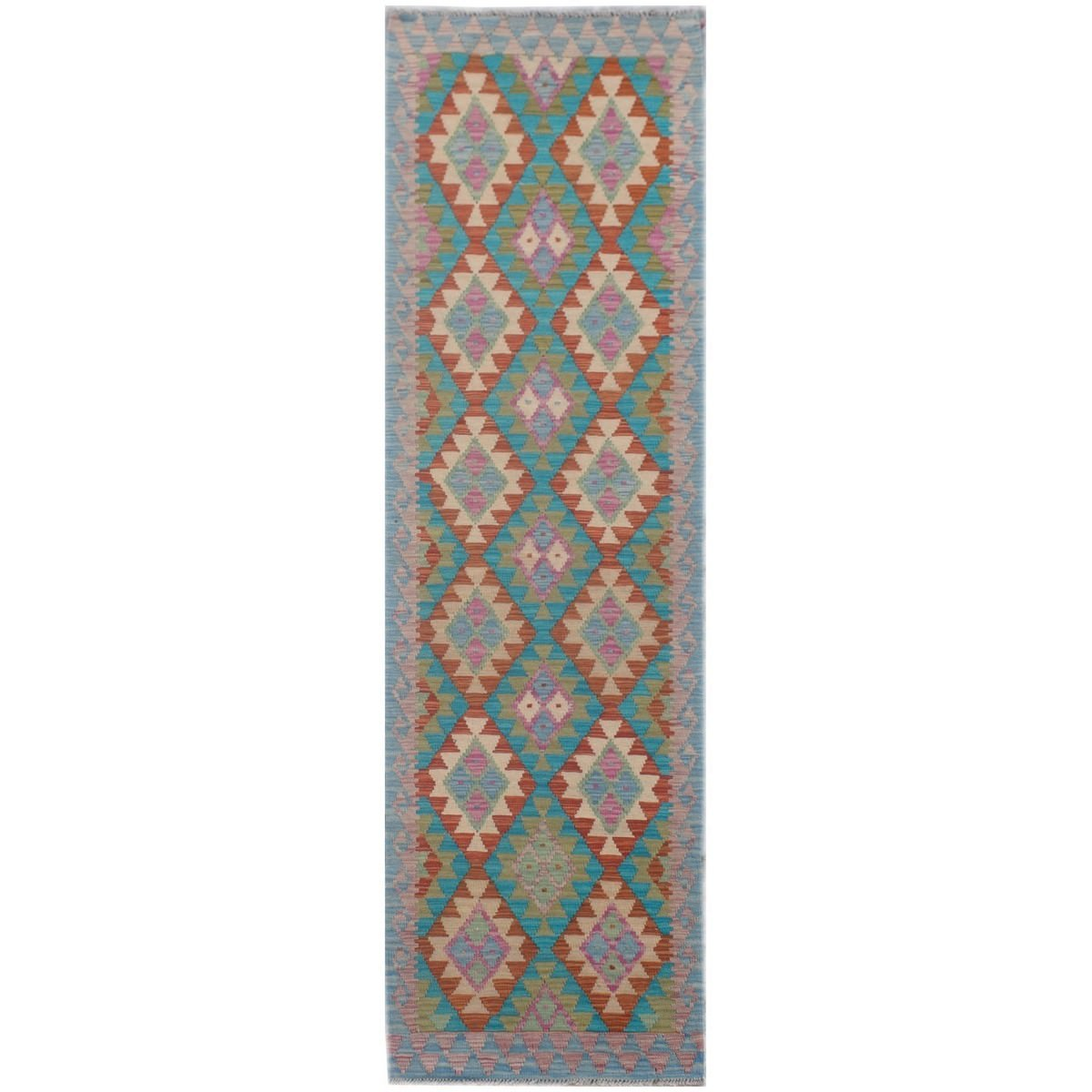 One of A Kind Ziva Hand Knotted Wool Maimana Kilim Runner Rug, 296x72cm