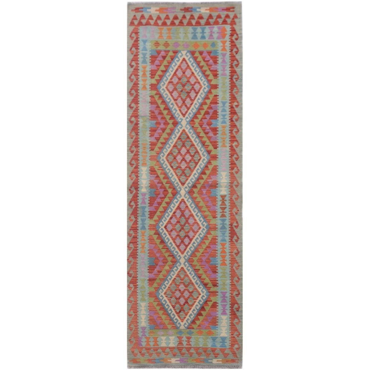 One of A Kind Paloma Hand Knotted Wool Maimana Kilim Runner Rug, 308x81cm