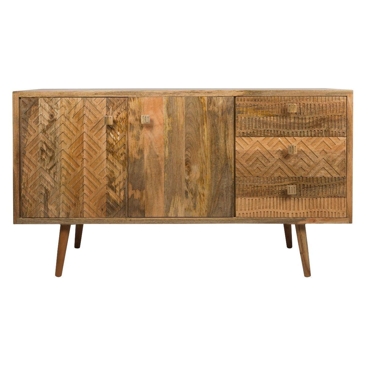 ashanti mango wood 2 door 3 drawer sideboard 140cm. Black Bedroom Furniture Sets. Home Design Ideas
