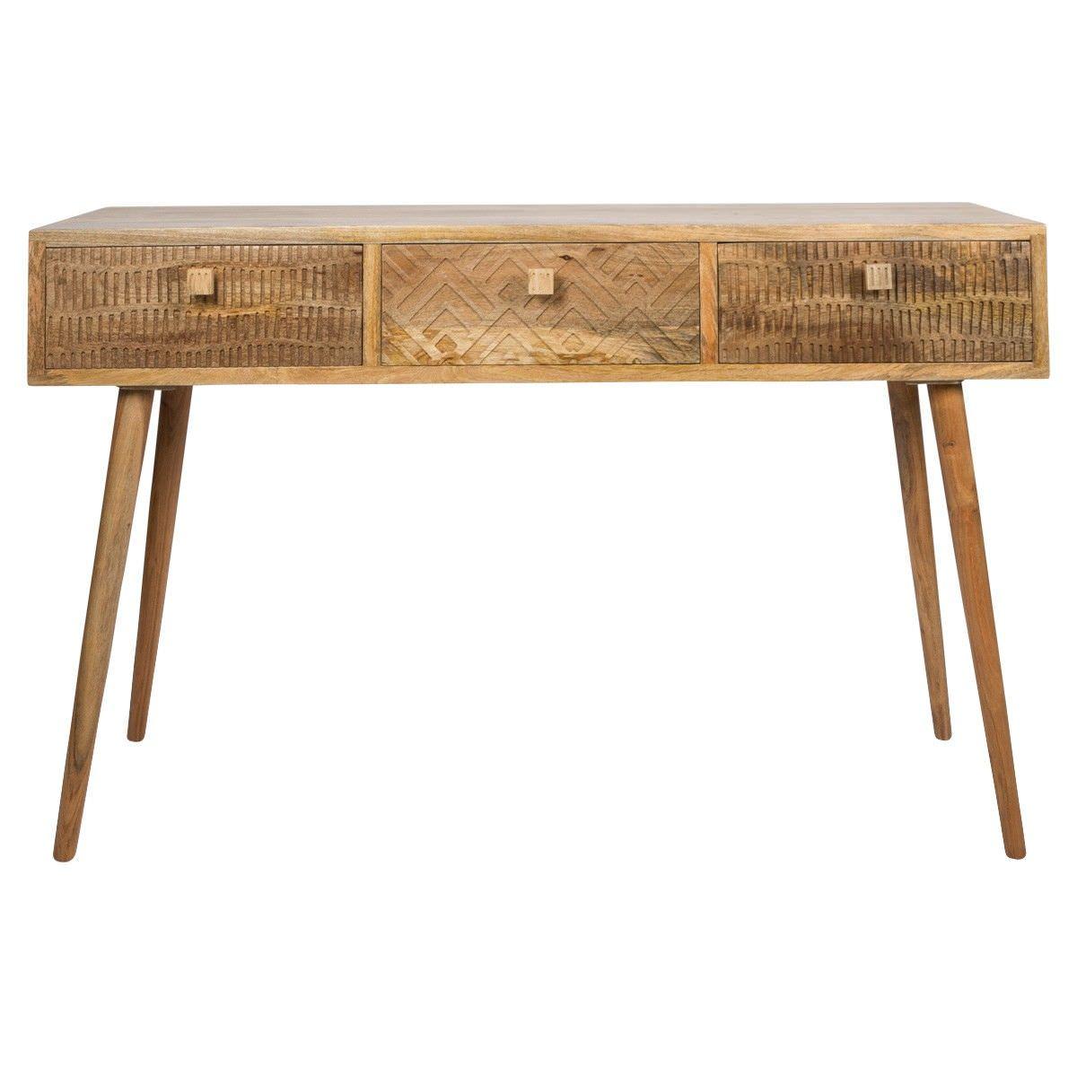 Fb 5680 5 Wood Console Table ~ Ashanti mango wood drawer console table