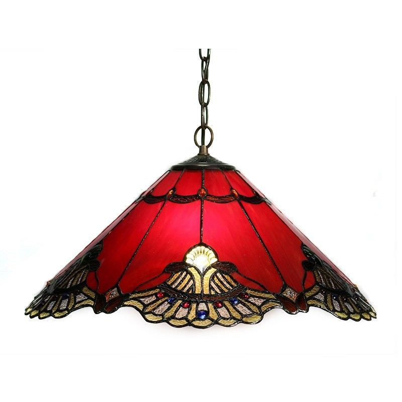Benita Tiffany Style Stained Glass Hanging Lamp, Red