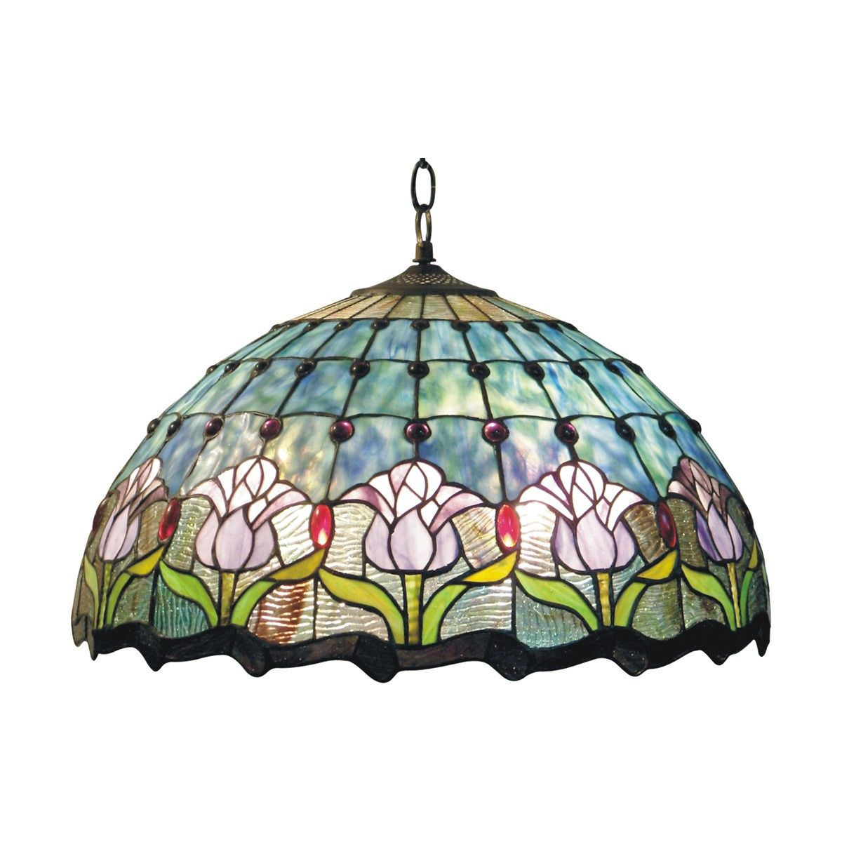 Mauve Tulip Tiffany Style Stained Glass Hanging Lamp