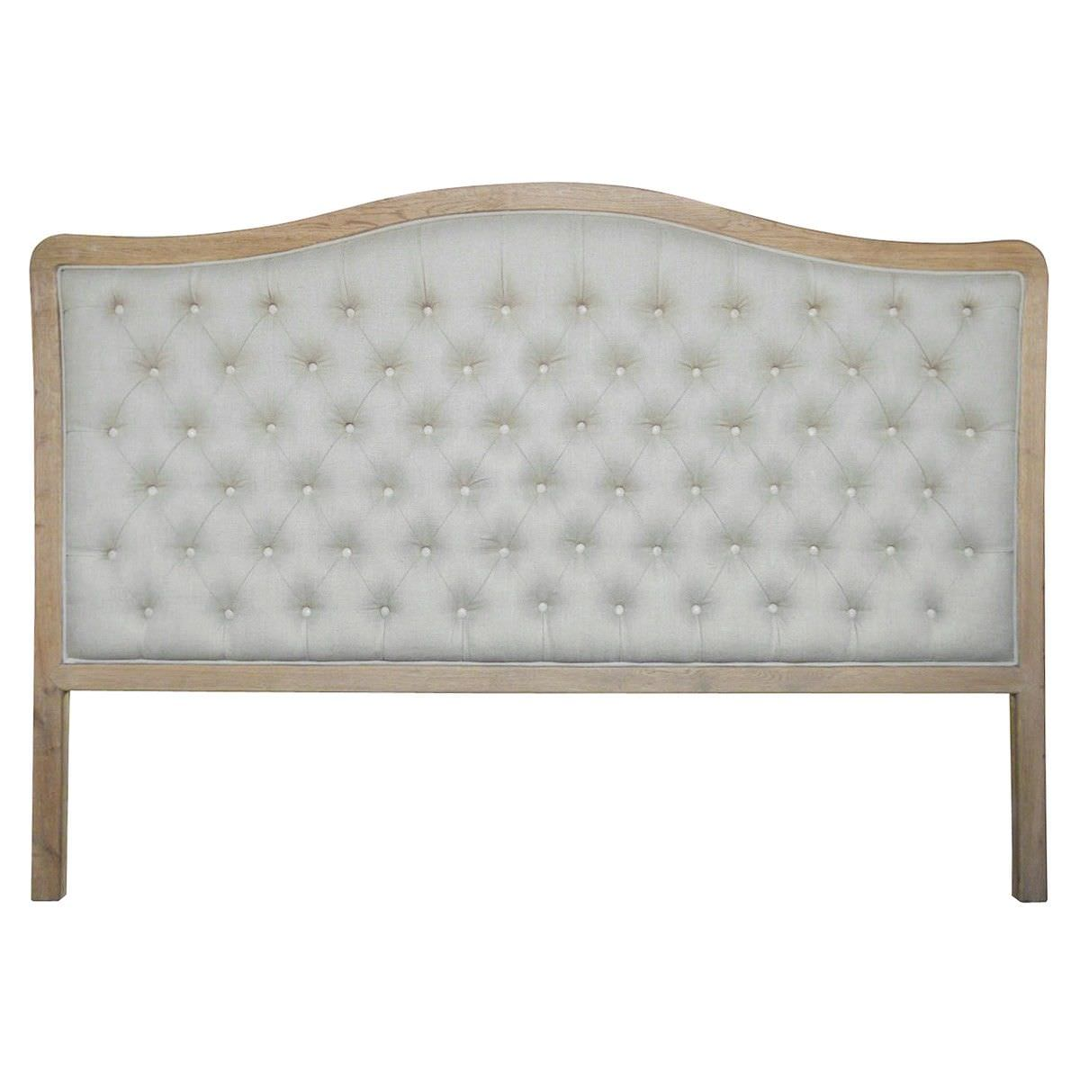 Maison Tufted Linen & Oak Timber Bed Headboard, Queen, Weathered Oak / Oatmeal
