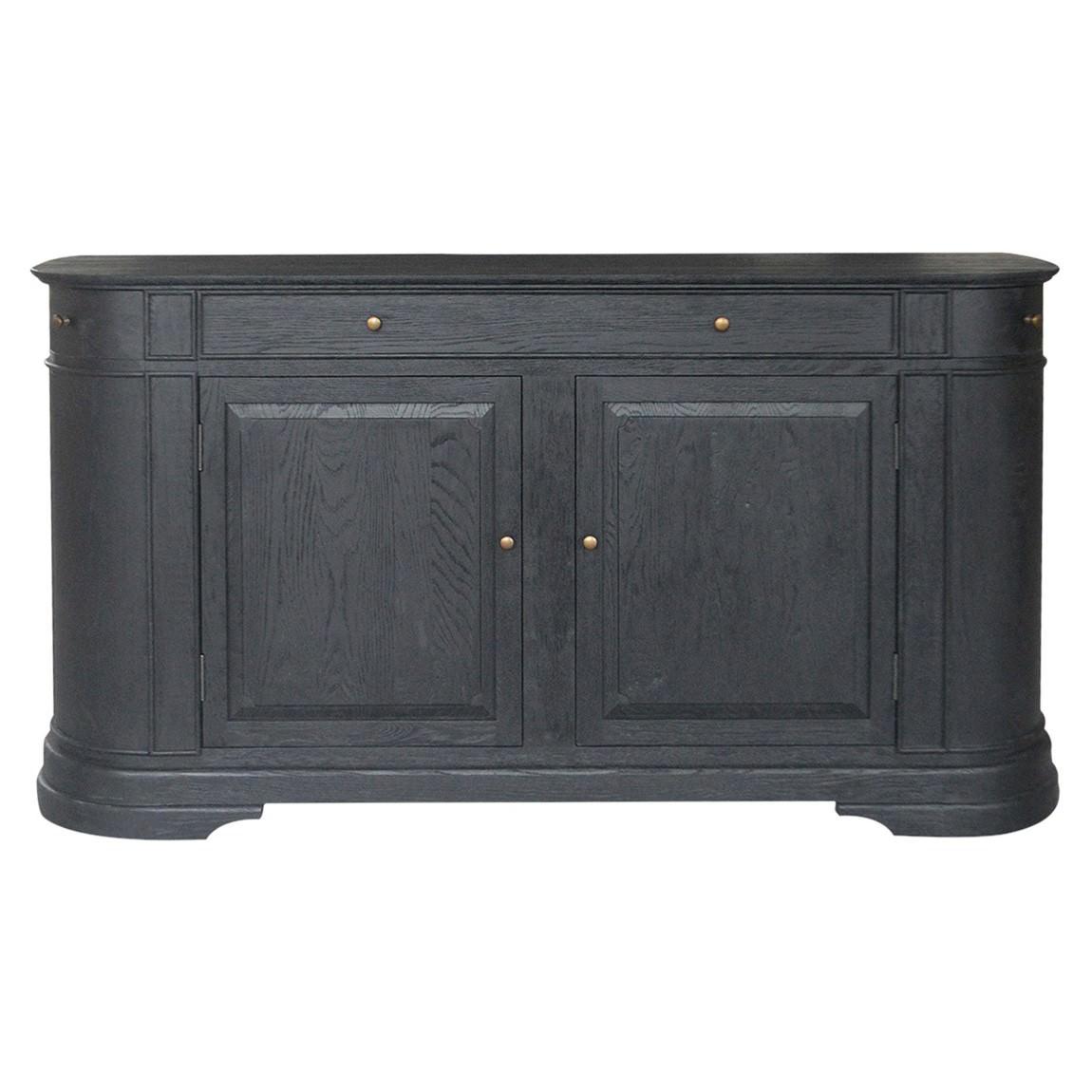William John Oak Timber 2 Door 3 Drawer Sideboard, 183cm, Black Oak