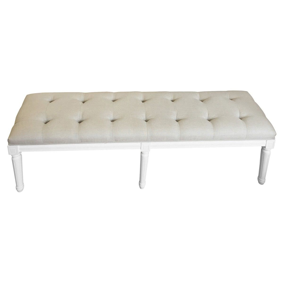 Antoinette Oak Timber Bench with Tufted Linen Seat, 160cm, White / Oatmeal