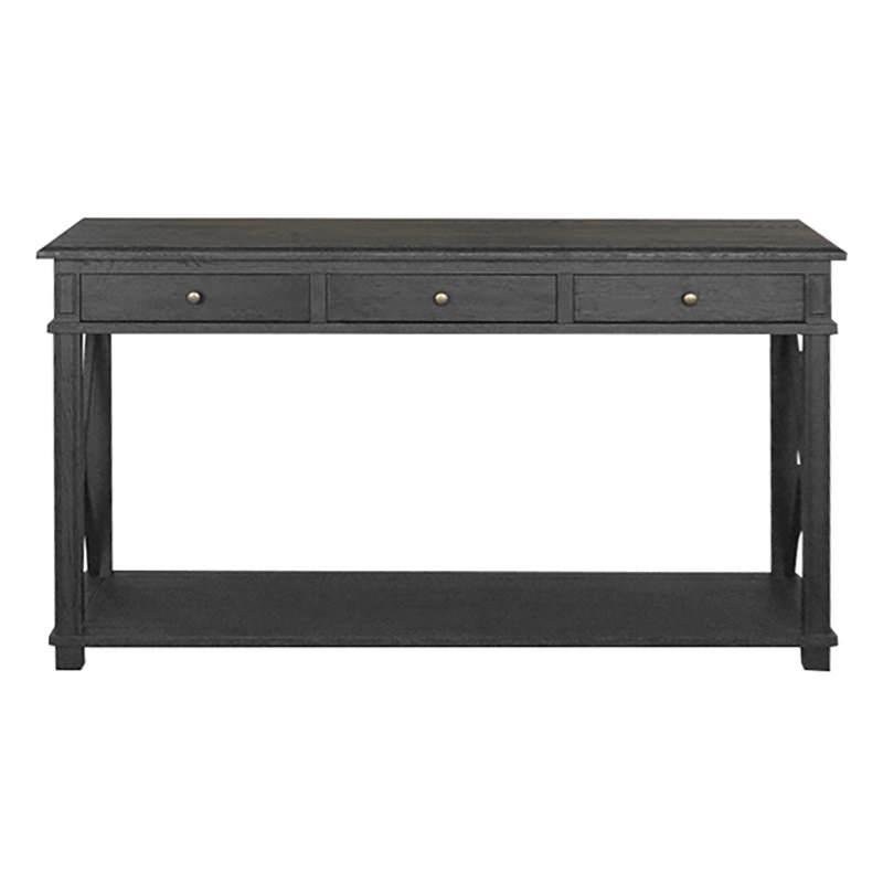 Phyllis Oak Timber 3 Drawer Console Table, 150cm, Black Oak