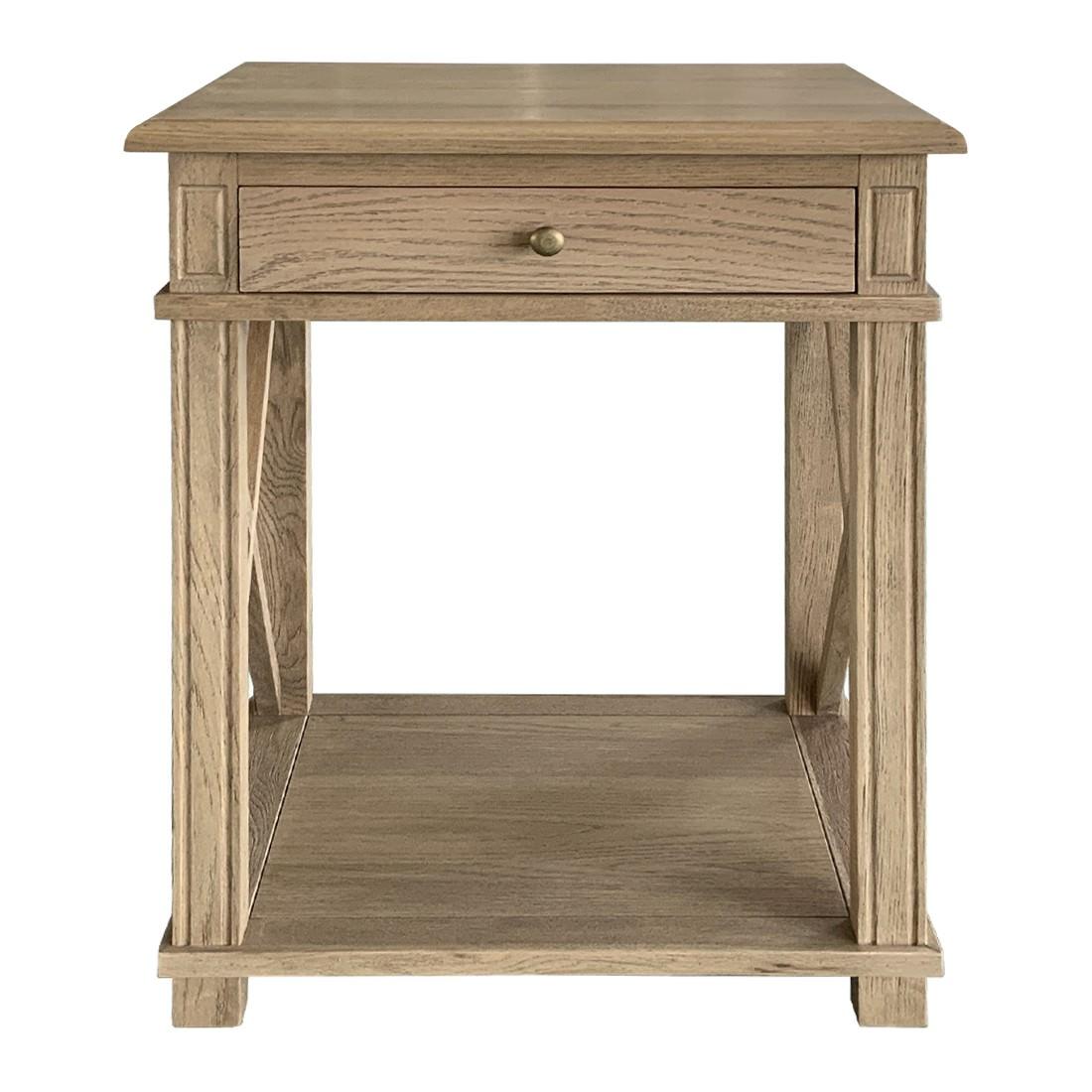 Phyllis Oak Timber Side Table, Large, Weathered Oak