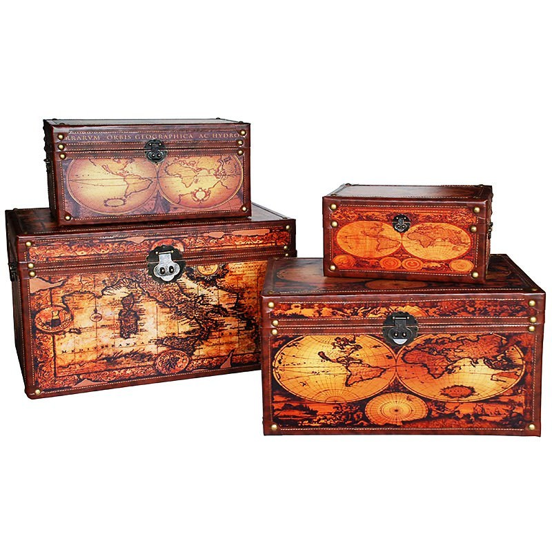 Set of 4 Vintage World Map Trunk Box - Brown Tone