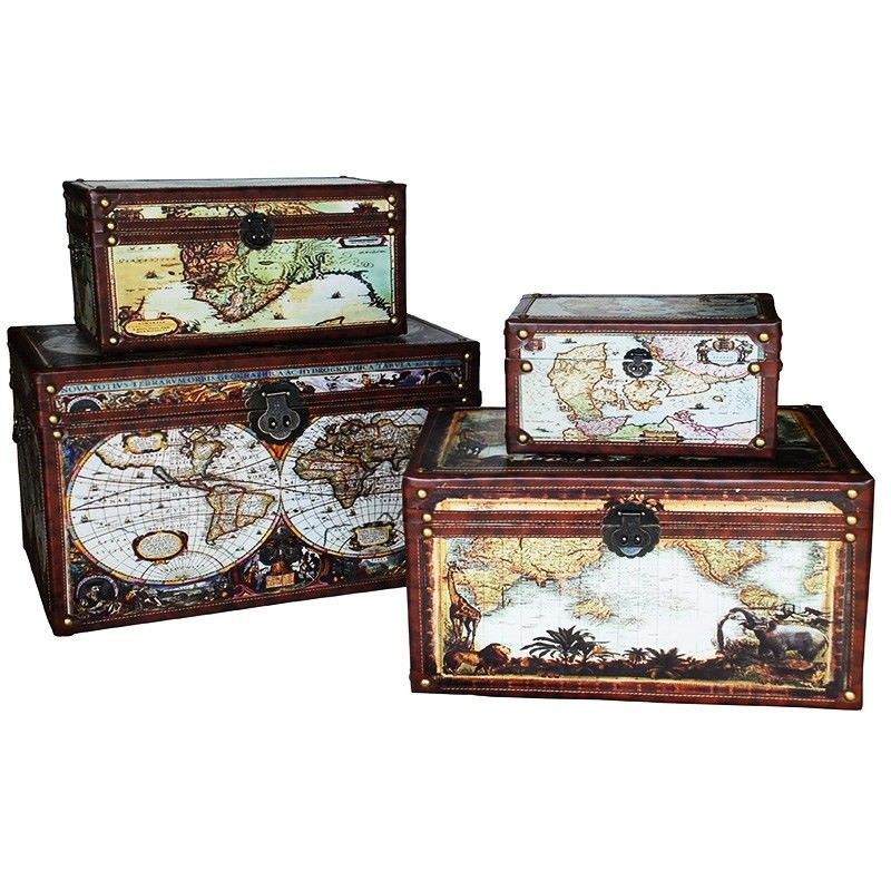 Set of 4 Vintage World Map Trunk Box