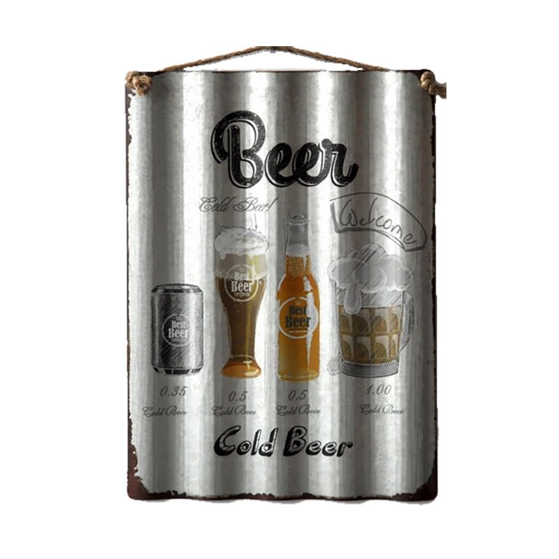 Retro Tin Corrugated Wall Plaque, Cold Beer