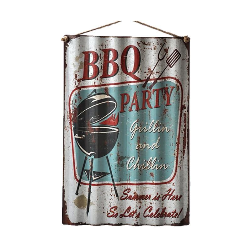 Retro Tin Corrugated Wall Plaque, BBQ Party