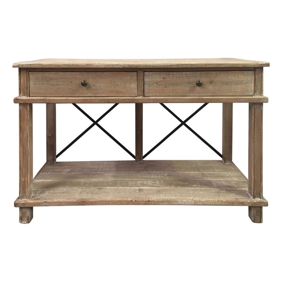 Bruno Fir Timber 2 Drawer Console Table, 120cm