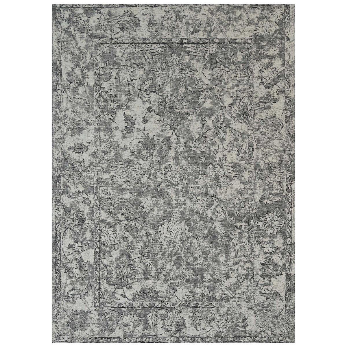 Celeste Chenille & Cotton Bohemian Boarder Rug, 80x150cm, Grey