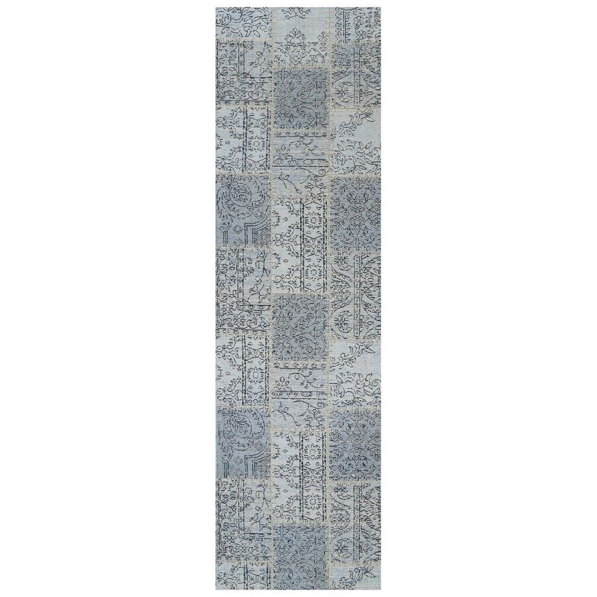 Celeste Chenille & Cotton Bohemian Patchwork Runner Rug, 80x300cm, Blue