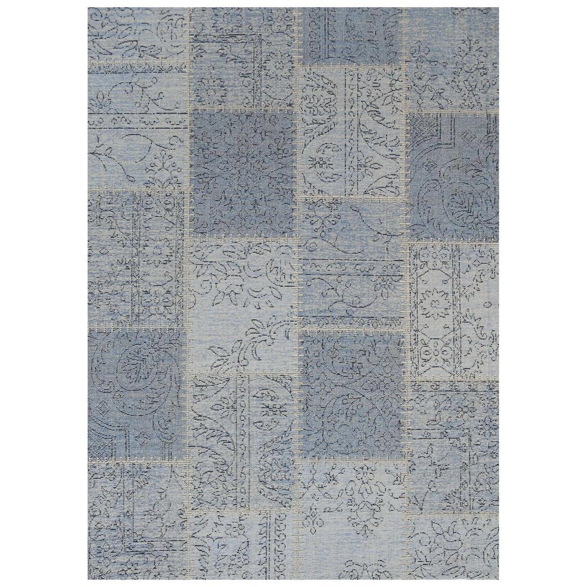 Celeste Chenille & Cotton Bohemian Patchwork Rug, 200x290cm, Blue