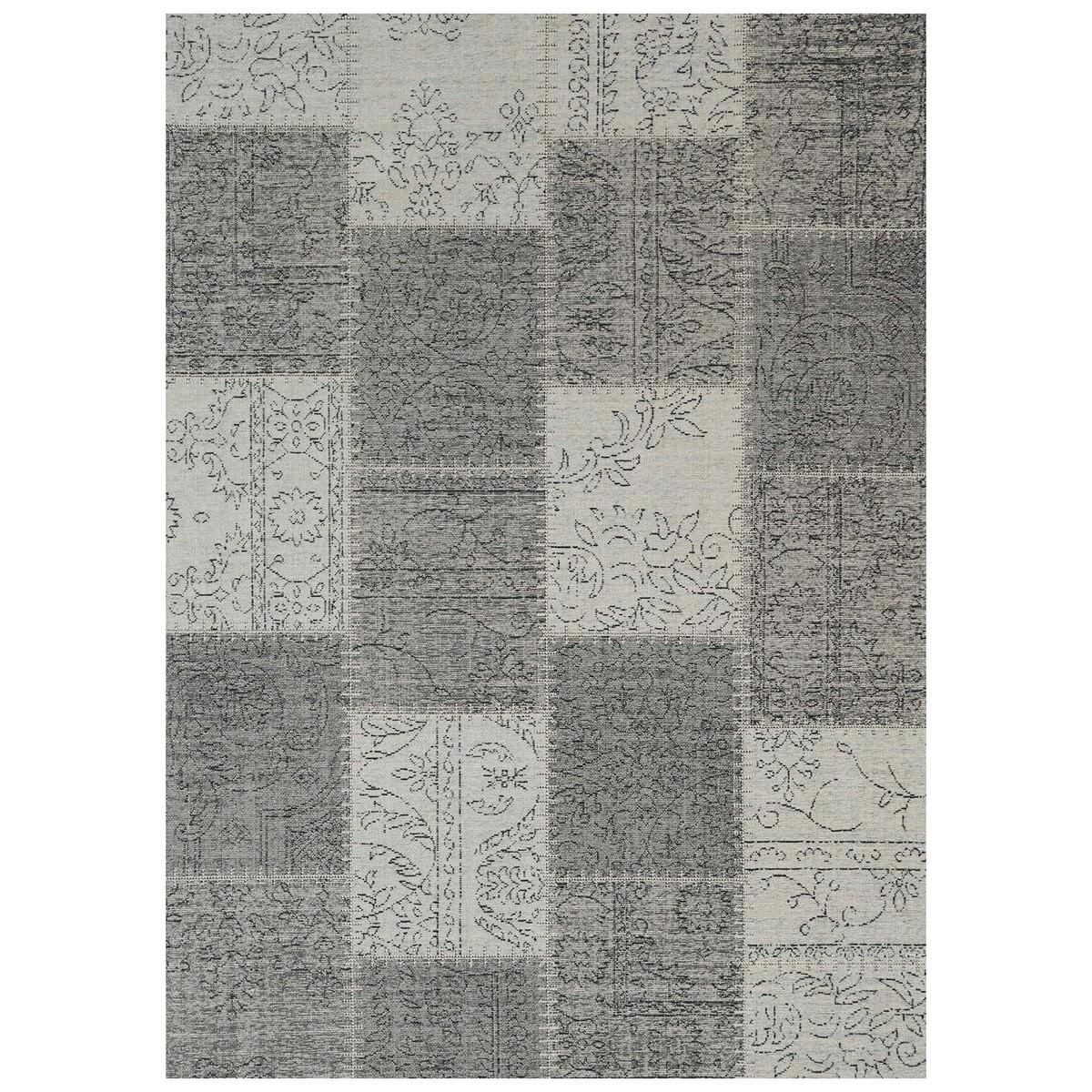 Celeste Chenille & Cotton Bohemian Patchwork Rug, 160x230cm, Grey