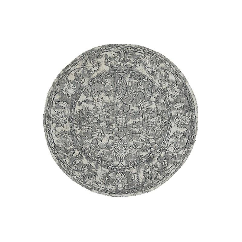 Celeste Chenille & Cotton Bohemian Boarder Round Rug, 120cm, Grey